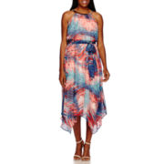 Sangria Sleeveless Abstract Print Handkerchief-Hem Hem Maxi Dress