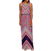 Sangria Sleeveless Geo Print Belted Maxi Dress