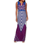 Sangria Sleeveless Geo-Print Maxi Dress