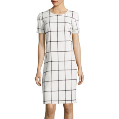 jcpenney.com | Sharagano Short-Sleeve Plaid Shift Dress