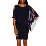 DJ Jaz Sleeveless Chiffon Cape Dress