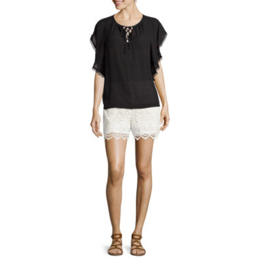 jcpenney.com | a.n.a® Short-Sleeve Tie-Up Peasant Top or Lace Crochet Shorts