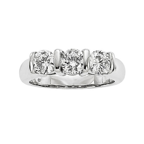 1 1/2 CT. T.W. Diamond 14K White Gold 3-Stone Ring