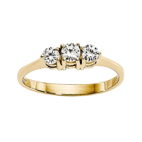 1/3 CT. T.W. Diamond 14K Yellow Gold 3-Stone Engagement Ring