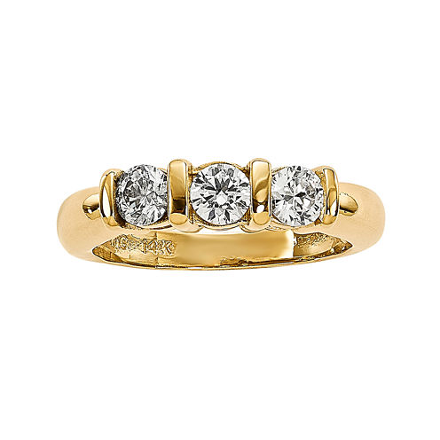 5/8 CT. T.W. Diamond 14K Yellow Gold 3-Stone Engagement Ring