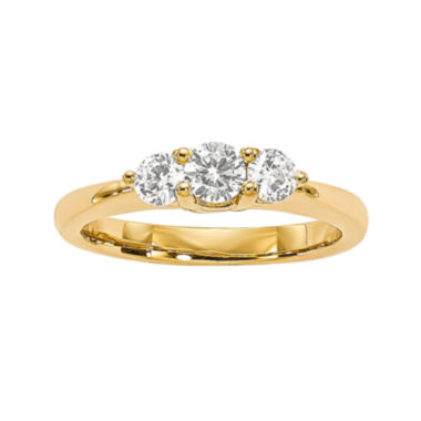 jcpenney.com | 1/2 CT. T.W. Diamond 14K Yellow Gold 3-Stone Engagement Ring