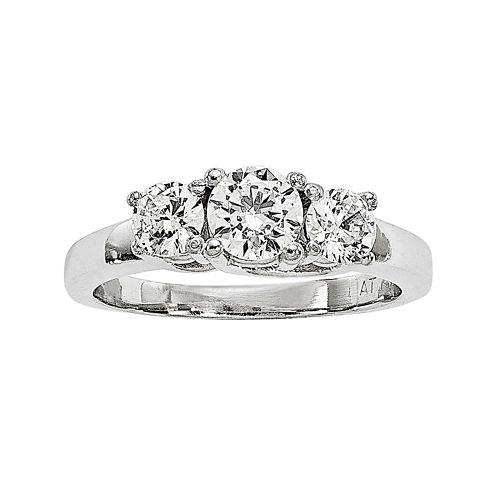 1 CT. T.W. Diamond Platinum 3-Stone Ring