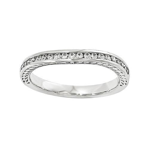 1/10 CT. T.W. Diamond 14K White Gold Wedding Band