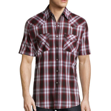jcpenney.com | Ely Cattleman® Short-Sleeve Western Plaid Snap Shirt -Big & Tall