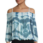 by&by Long-Sleeve Off-the-Shoulder Tie-Dye Top