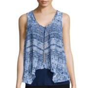 By & By Sleeveless Bandana Print Knit-To-Woven Top
