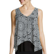 by&by Sleeveless Medallion Print Knit-to-Woven Top