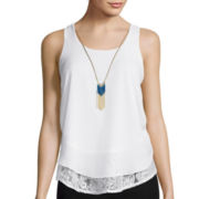 By & By Sleeveless Chiffon Peekaboo Tank Top with Necklace