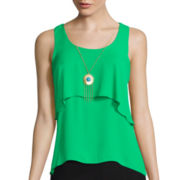 By & By Sleeveless Chiffon Popover Tank Top with Necklace