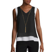by&by Colorblock Necklace Layered Tank Top