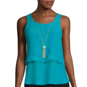 By & By Sleeveless Crochet Trim Popover Necklace Top