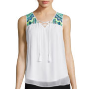 By & By Embroidered Yoke Tassel Tank Top