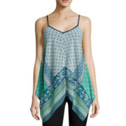 By & By Sleeveless Printed Chiffon Hanky Top