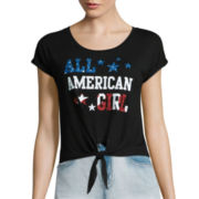 Fifth Sun™ Short-Sleeve American Girly Tie Front Tee - Juniors