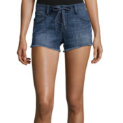 Arizona Striped Raw-Cuff Lace-Up Shorts