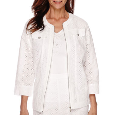 jcpenney.com | Alfred Dunner® White Now 3/4-Sleeve Eyelet Jacket