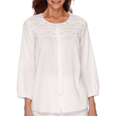 jcpenney.com | Alfred Dunner® White Now 3/4-Sleeve Embroidered Peasant Blouse