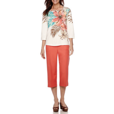 jcpenney.com | Alfred Dunner® Cozumel Tropical Print Tunic And Capri
