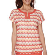 Alfred Dunner® Cozumel Cap-Sleeve Zig Zag Textured Top