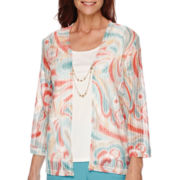 Alfred Dunner® Cozumel  3/4-Sleeve Layered Necklace Top