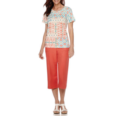 jcpenney.com | Alfred Dunner® Cozumel Patchwork Print Top or Capris
