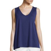 Liz Claiborne® Smocked Shoulder Tank Top