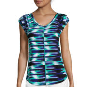 Liz Claiborne® Short-Sleeve Ruched Stripe Tee