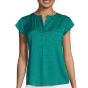 Liz Claiborne® Cap-Sleeve Woven Blouse - Tall