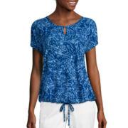Liz Claiborne® Short-Sleeve Drawstring Tee - Tall