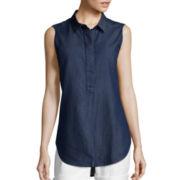 Liz Claiborne® Sleeveless Popover Tunic Shirt