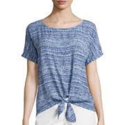 Liz Claiborne® Short-Sleeve Stripe Tie-Front Tee
