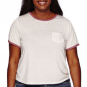 Arizona Cropped Short-Sleeve Burnout Ringer Tee - Juniors Plus