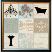 Bath Collage I Framed Print Wall Art