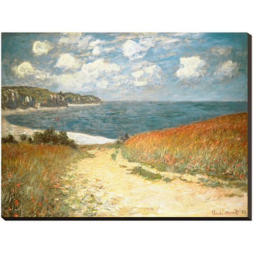 Art.com Path Through the Corn at Pourville, c.1882 Stretched Canvas Wall Art