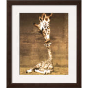 Giraffe First Kiss Framed Print Wall Art