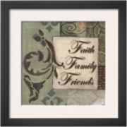 Words to Live By: Faith Family Friends Framed Print Wall Art