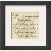Words to Live By: Life Framed Print Wall Art
