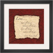 Art.com Words to Live By: Love Bears All Framed Print Wall Art