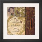 Cross II With God All Things Are Possible Framed Print Wall Art