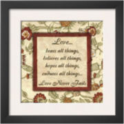 Words to Live By: Love Never Fails Framed Print Wall Art