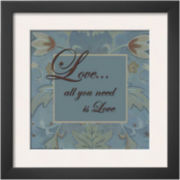 Tapestry Flowers: Love Framed Print Wall Art