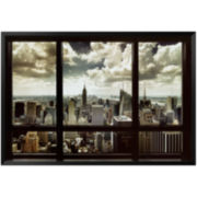 New York Window Framed Poster Wall Art