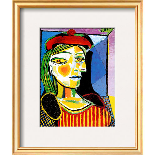 Girl with Red Beret Framed Print Wall Art