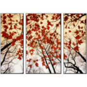 Branches and Red Maple Leaves Photo Wall Art