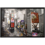 New York's Times Square Aerial Framed Poster Wall Art